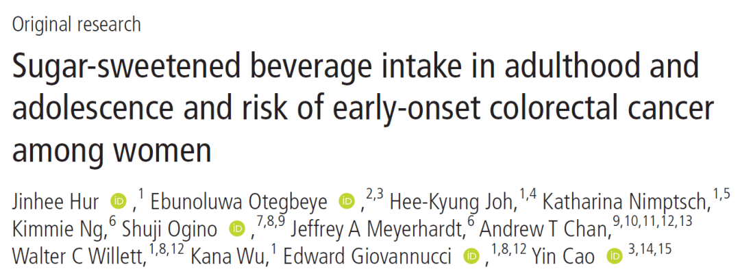 Sugar-sweetened beverage intake in adulthood and adolescence and risk of early-onset colorectal cancer among women